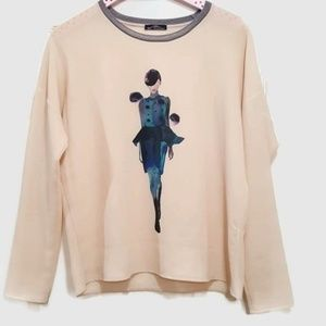 Zara W&B Collection Graphic Top Size S
